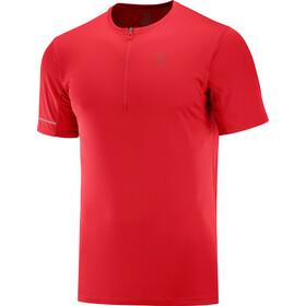 Salomon Agile Graphic T-shirt Halve Rits Heren, rood